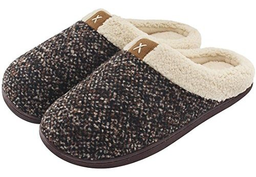 UltraIdeas Men's Comfort Memory Foam Slippers Wool-Like Plush Fleece Lined House Shoes