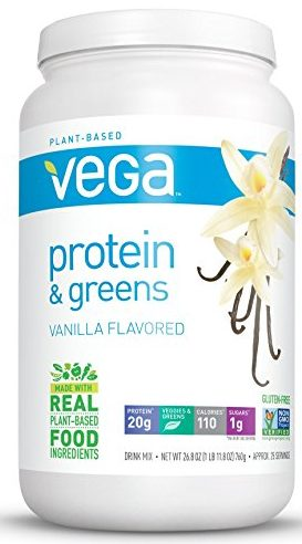 Vega Protein & Greens, Plant-Based Protein Shake, Vanilla, net weight 26.8 ounces, 25 servings: