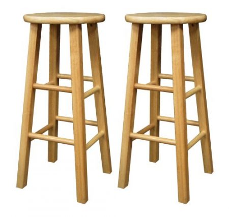 Winsome Wood 29-Inch Square Leg Barstool with Natural Finish, Set of 2
