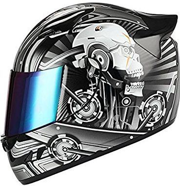 1Storm Motorcycle Bike Full Face Helmet Mechanic Skull