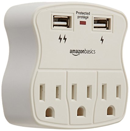 AmazonBasics with 2 USB Ports Surge Protector 3-Outlet