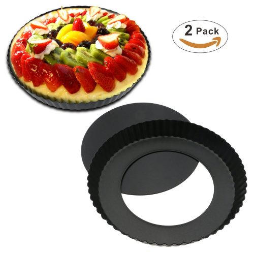 TedGem Removable Bottom Quiche Tart Pan with Removable Base