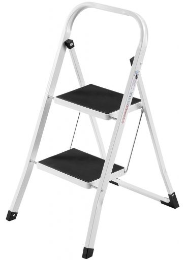 VonHaus Steel Folding Portable 2 Step Ladder