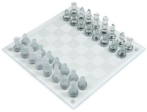 Deluxe Solid Glass Chess Set - Inlcudes Bonus Deck of Cards