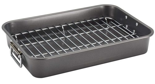 Farberware Nonstick Bakeware 11-Inch x 15-Inch Roaster with Flat Rack