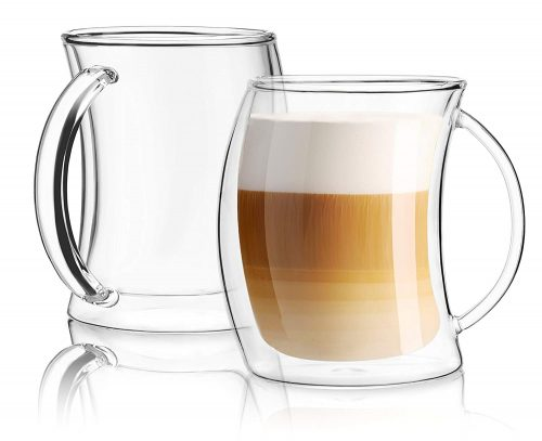 JoyJolt Caleo Collection Glass Coffee Cups Double Wall
