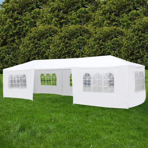 Uenjoy 10'x30' Canopy Party Wedding Tent Event Tent Outdoor Gazebo White 7 Sidewalls