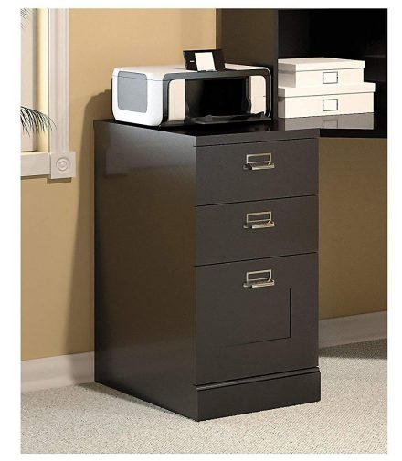 Bush Furniture Stockport 3 Drawer File Cabinet in Classic Black