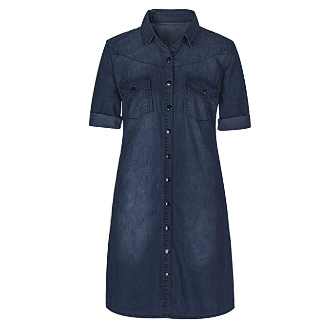 Felove Women's Botton Down Denim Shift Shirt Dress