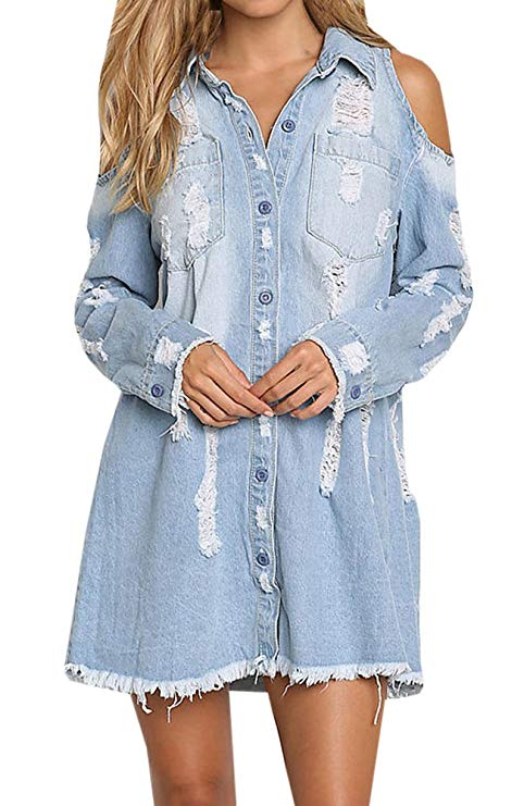Geckatte Women's Cold Shoulder Long Sleeve Denim Dress Mini Denim Shirts