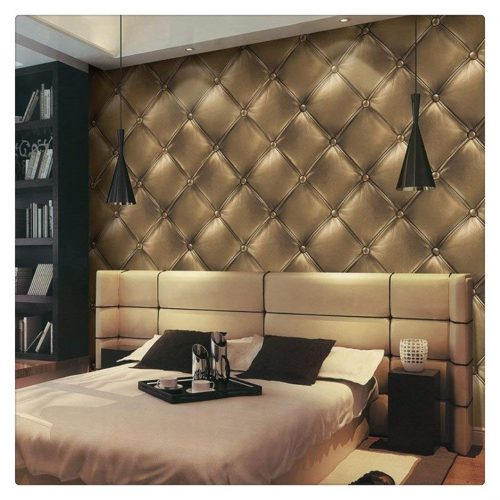 "HaokHome 3231 Vintage Gold 3D Leather textured wallpaper Vinyl wallpaper mural 20.8"" x 393.7"""