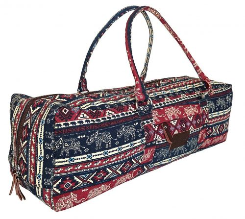 Kindfolk Yoga Mat Duffel Bag Carrier Patterned Canvas with Pocket and Zipper