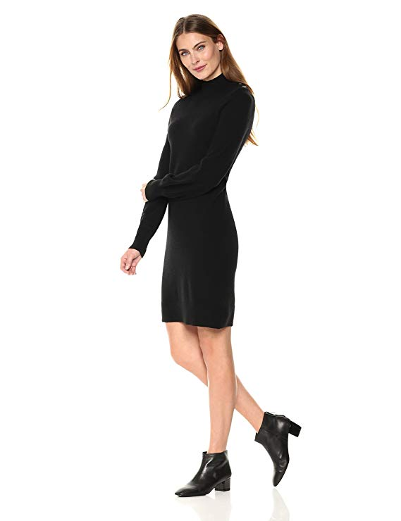 Lark & Ro Women's 100% Cashmere Soft 12-Gauge Turtleneck Sweater Dress-Sweater Dresses