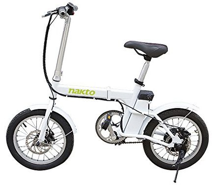 "NAKTO 220W 16"" Folding Electric Bike Collapsible Electric Commuter Bike Ebike"