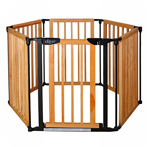 New Clevr 3-in-1 Baby 6 Panel Playard Playard Wooden Gate Fence-best Playards