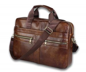 Vintage Genuine Leather Messenger Bag for Men - Brown Color