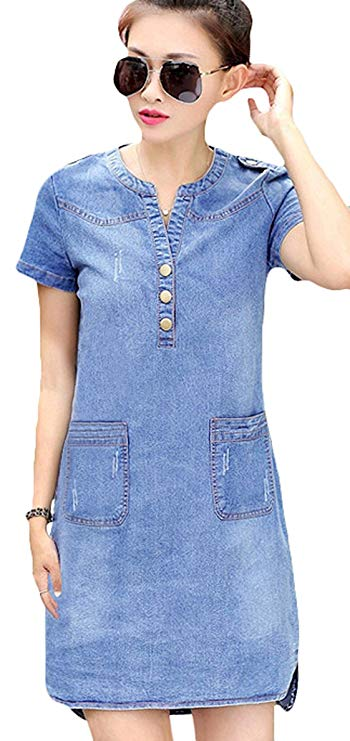 Youhan Women's Vintage Fitted V-Neck Short Sleeve Denim Dress