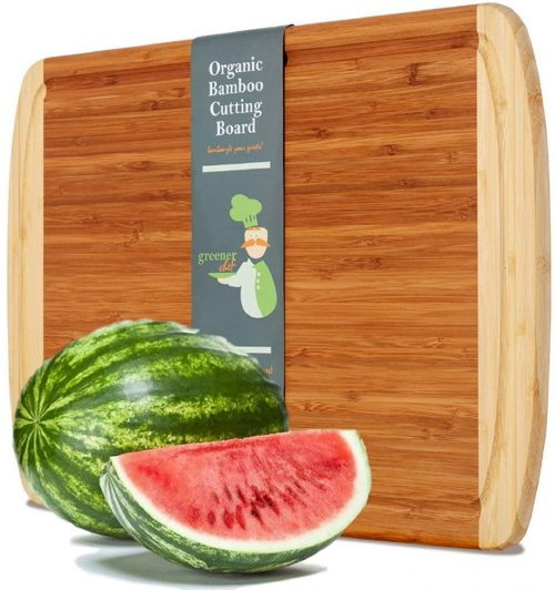 Extra Large Organic Bamboo Cutting Board for Kitchen - NEW CRACK-FREE DESIGN