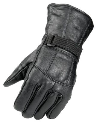 Raider Black Leather Gauntlet Motorcycle Riding Gloves for Men and Women