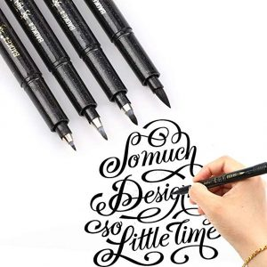Refill Brush Marker Pens for Lettering - 4 Size Black Calligraphy Ink Pen by BOXUN: