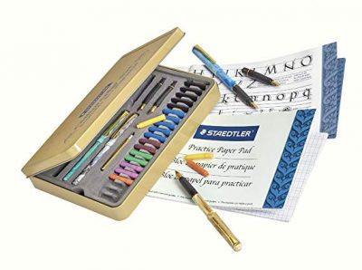 2. STAEDTLER calligraphy pen set, Complete 33 piece tin: