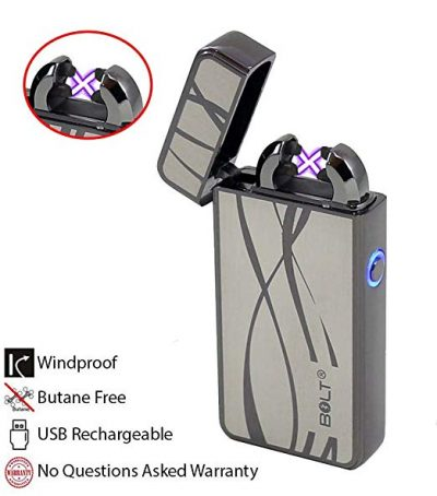 BOLT Lighter® USB Rechargeable Windproof Electric Plasma Dual Arc Lighter Set: