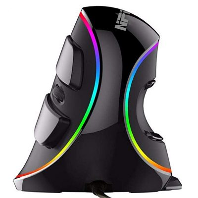 Ergonomic Vertical USB Mouse with RGB Backlit by NPET: