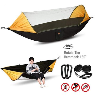#9. Lisuu Camping Hammock,2 Person Camping Hammock with Mosquito Net: