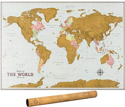 2. Scratch Off Map of the World – World Scratch off Map with Outlined Canadian and US States: