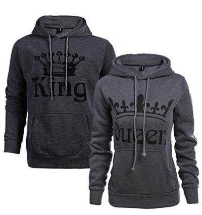 Women Couple Sweatshirt King Queen Pullover Hoodie: