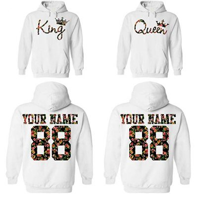 Custom Couple Floral Pattern Hoodies:
