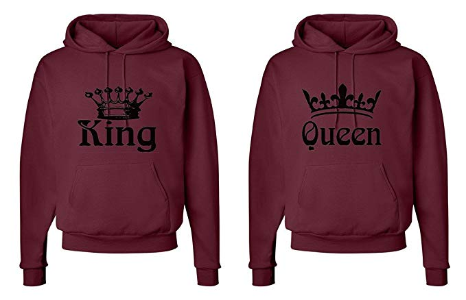 FASCIINO Matching His & Hers Couple Hooded Sweatshirt Set - King and Queen Crowns: