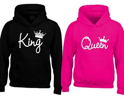 Couple King and Queen Hoodies in Black & Pink