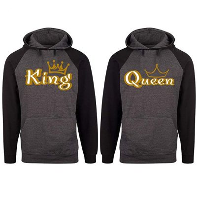 14. SR Gold King Queen Crown Raglan Hoodie Pullover Hooded Sweatshirt: