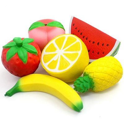 2. 6PCS Jumbo Squishies Slow Rising Strawberry Peach Banana Lemon Watermelon Pineapple Charms Fruit Squishies by SILVIA: