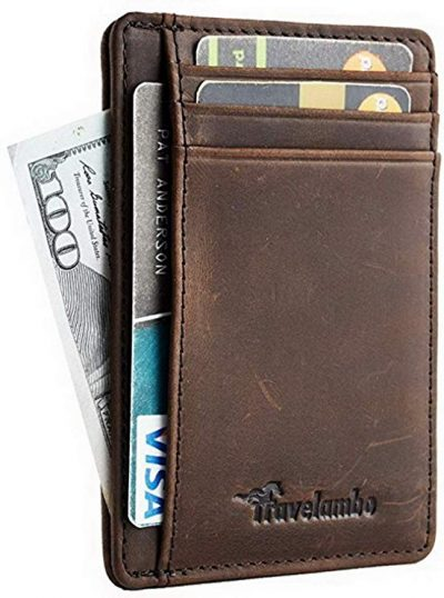 Travelambo Front Pocket Minimalist Leather Slim Wallet RFID Blocking Medium Size: