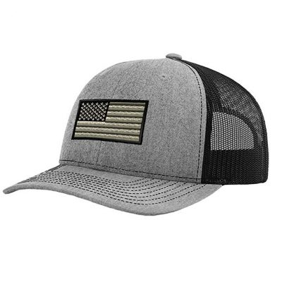 17. Speedy Pros Black White American Flag Embroidery Richardson Structured Front Mesh Back Cap