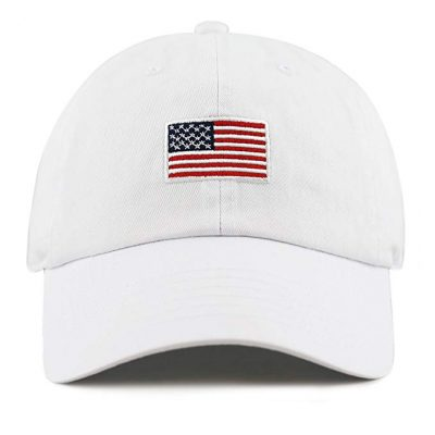 10. THE HAT DEPOT Washed 100% Cotton America Flag Low Profile Adjustable Strap Baseball Cap Hat:
