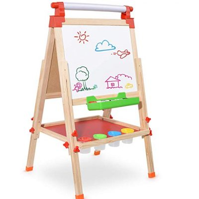 8. Amagoing Children Kids 3 in 1 Multifunctional Double Sided Black/White Wooden Easel: