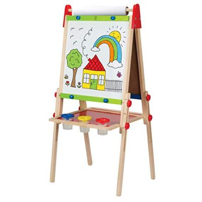 Award Winning Hape All-in-One Wooden Kid's Art Easel with Paper Roll and Accessories: