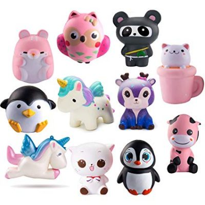 9.  WATINC Random 3 Pcs Jumbo Animal Squishy Sweet Scented Vent Charms Slow Rising squishies: