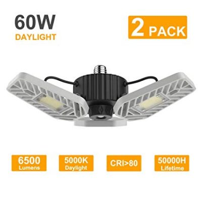LZHOME 2-Pack LED Garage Lights, 6500Lumens Adjustable Trilights Garage Ceiling Light: