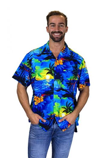16. V.H.O Funky Hawaiian Shirt For Men Short Sleeve Front-Pocket Surf Multiple Colors:
