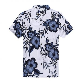 17. Palm Wave Men's Hawaiian Shirt Aloha Shirt in White Navy: