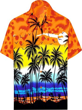 18. LA LEELA Shirt Casual Button Down Short Sleeve Beach Shirt Men Aloha Pocket 214: