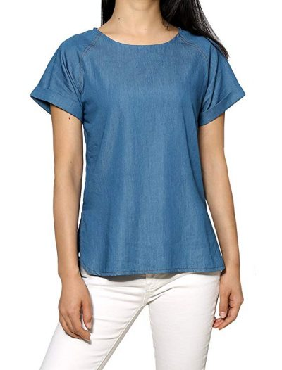 Women's Cuffed Raglan Sleeves Side Slit Chambray Top by Allegra K: