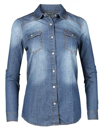 Made by Emma MBE Women's Slim Long Sleeve Chambray Western Denim Button Down Shirt: