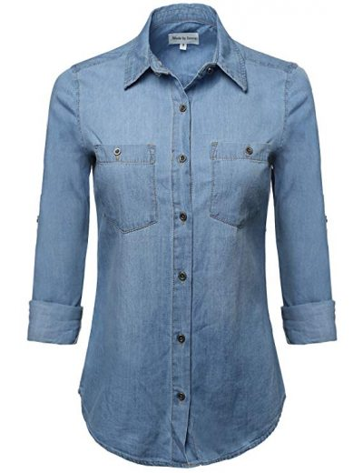 En Créme Women's Buttton Down Pearl Chambray Shirt: