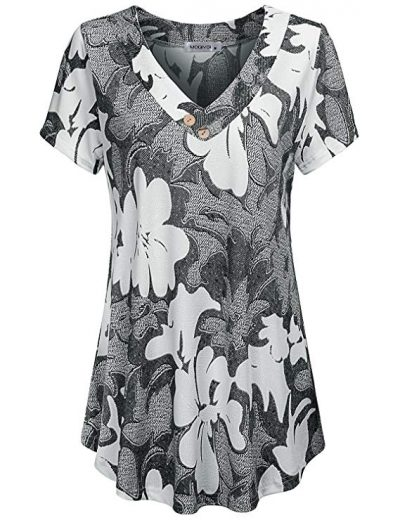 13. MOQIVGI Women's V Neck Short Sleeve Floral Print Blouse Tops Fashion Casual Tunic Shirts:
