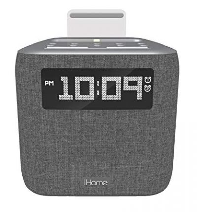 iHome iPL8XHG Dual Alarm FM Clock Radio with Lightning Dock for iPhone with USB Charging: